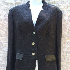 BASLER Grey Black Jacket Size 14 Long Sleeve
